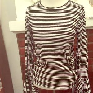 Stripped Bell sleeve top